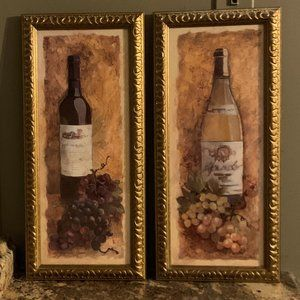 2 Wine Bottle Wall Art Framed Prints Italy Grapes
